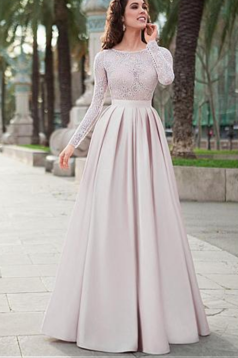 Lace Prom Dresses,Satin Prom Gown,Long Sleeves Prom Dress,A-line Prom Dresses