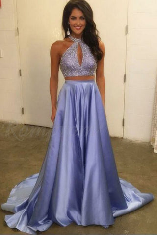 Two Piece Prom Dresses,Halter Prom Gown,Beaded Prom Dress,Elegant Prom Dress,Lavender Prom Dress