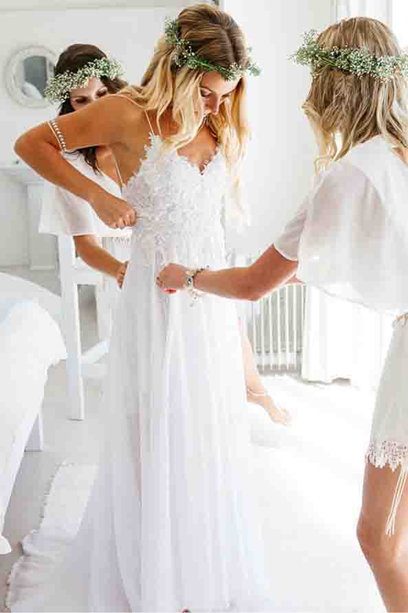 Spaghetti Strap Wedding Dresses,White Wedding Dresses,Chiffon Wedding Dress,Lace Bridal Dress,Appliqued Wedding Gown,V-neck Wedding Dress,Summer Wedding Dresses,Beach Wedding Dresses