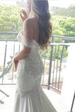 Mermaid Off-the-Shoulder Lace Long Cheap Count Train Backless Plus Size Wedding Dress OK774