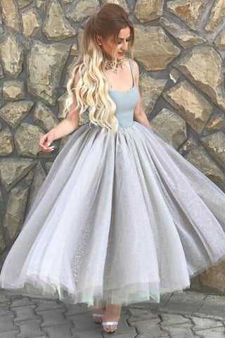 Simple Prom Dresses,A-Line Homecoming Dress,Spaghetti Straps Prom Dress,Gray Homecoming Dresses,Tulle Homecoming Dress,Short Homecoming Dress