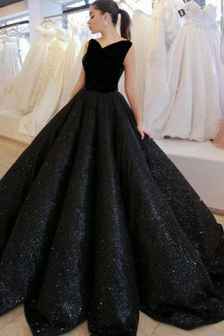 Black V Neck Sequined Ball Gown Prom Dress, Big Formal Dresses OKI83