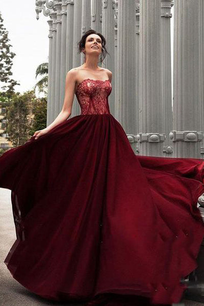 Glamorous A-Line Strapless Burgundy Long Evening Dress With Lace,Lace up Backless Prom Dress,Sweetheart Formal Dress,Prom Dresses