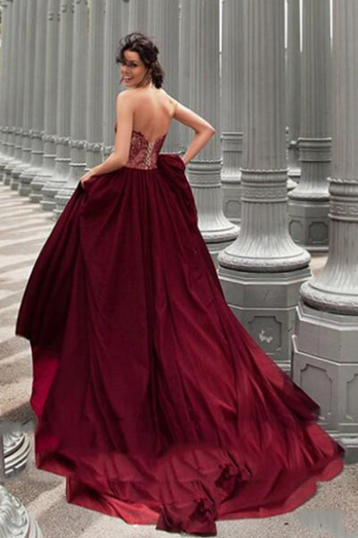 Glamorous A-Line Strapless Burgundy Long Chiffon Prom Dress With Lace OK855