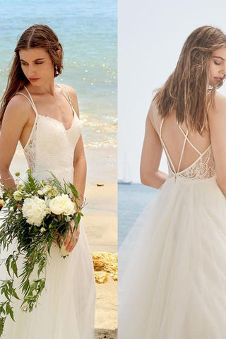 Simple Wedding Dresses,Spaghetti Straps Wedding Dress,Ivory Wedding Gown,A Line Bridal Dress,Tulle Wedding Dress,Beach Wedding Dress