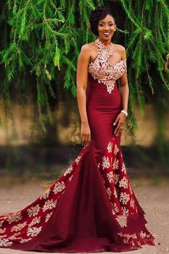 Charming Burgundy Mermaid Long Lace Appliqued Sleeveless Prom Dresses OKG47