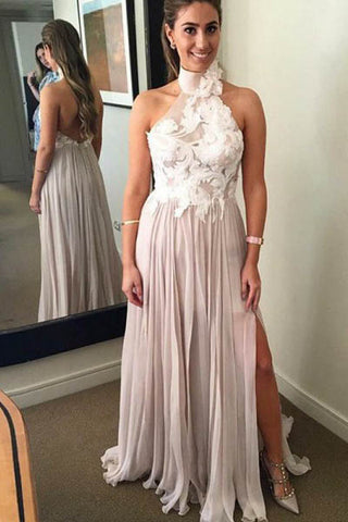 A Line Chiffon High Neck Long Prom Dresses With Appliques OKH26