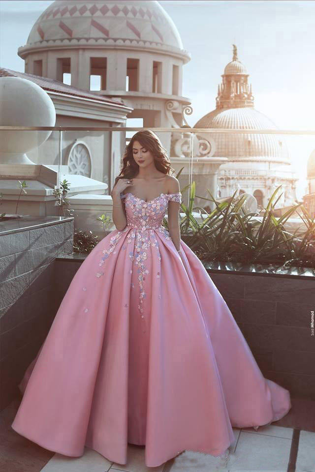 Pink Prom Dresses,Off the Shoulder Prom Gown,Ball Gown Prom Dress,Appliques Prom Dresses,Satin Prom Dress