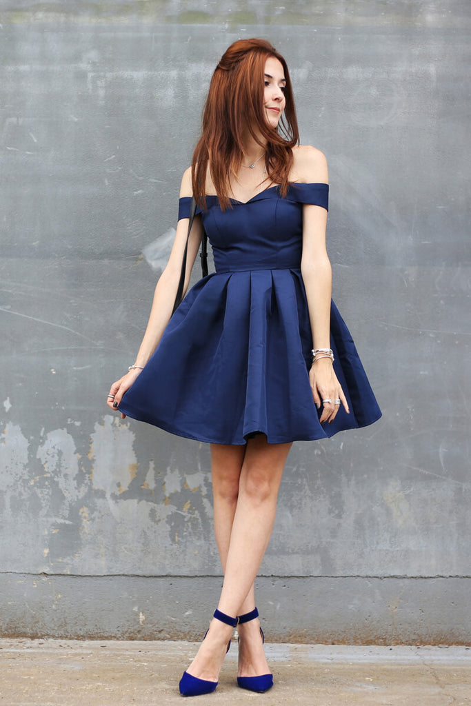 Simple Dark Blue Homecoming Dresses,A-line Homecoming Dresses,Off-The-Shoulder Homecoming Dresses,Satin Homecoming Dresses,Pleats Homecoming Dress