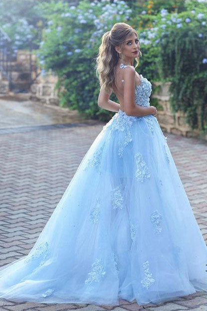 Light Blue Lace Appliques Ball Gown Prom Dress Princess