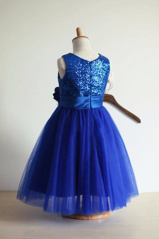 Royal Blue A-line Jewel Sleeveless Tulle Sequin Long Flower Girl Dresses OK703