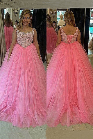 Plus Size Prom Dress,Pink Prom Dress,Ball Gown Prom Dresses,Long Prom Dress,Beading Prom Gown,Tulle Prom Dress