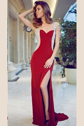 Red Prom Dress,Sheath Prom Dresses,Cap Sleeve Prom Dresses,Front Slit Prom Dress,Prom Dresses With Rhinestone,Split Evening Gowns