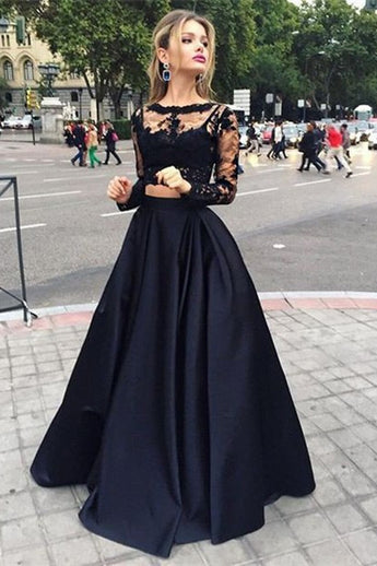 Two Piece Prom Dress,Deep Black Prom Dresses,Lace Prom Dress,Formal Prom Dress,Long Sleeves Prom Dress,Long Evening Dress,2 Pieces Evening Gown