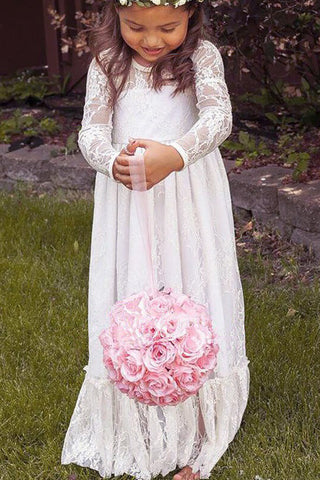 Ivory Flower Girl Dress,Bowknot Flower Girl Dresses,Lace Flower Girl Dress