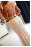 Long Spaghetii Straps Sheath Sequin Criss Cross Long Prom Dresses OK620