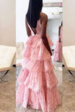 A-Line Deep V-Neck Backless Pink Lace Layered Prom Dress OK751