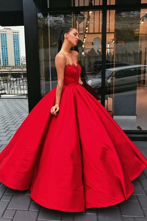 Charming Red Sweetheart Strapless Satin Ball Gown Prom Dresses OK692