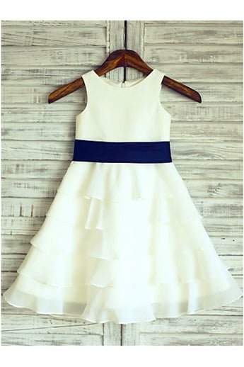 A-line Flower Girl Dress,Chiffon Flower Girl Dresses,Ivory Flower Girl Dress