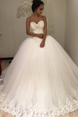 Sweetheart Sleeveless Tulle Long Ball Gown Wedding Dress with Lace Appliques OKH97