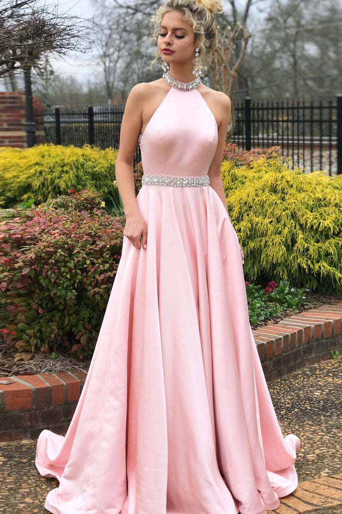 Fashion Prom Dresses,Pink Prom Gown,High Neck Prom Dress,Sexy Back Prom Dress,Cheap Prom   Dress