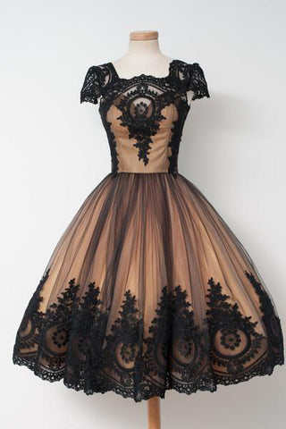 Black Homecoming Dresses,Vintage Homecoming Dress,Cap Sleeves Prom Dresses,Short Prom Dress,Tulle Homecoming Dress,Pretty Prom Dress,Cheap Party Dresses,Appliques Homecoming Dresses