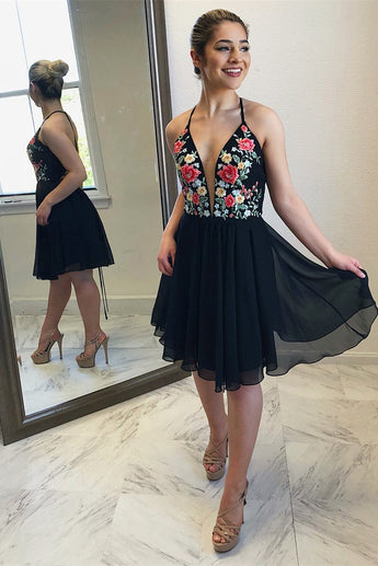 Black Floral A Line V Neck Cheap Chiffon Short Prom Dresses OKB86