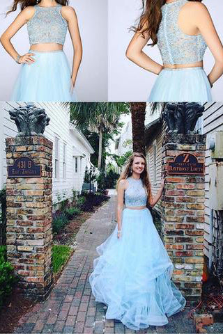 Fashion Two Pieces Light Blue Lace Tulle Ruffles A-line Prom Dress For Teens OK694