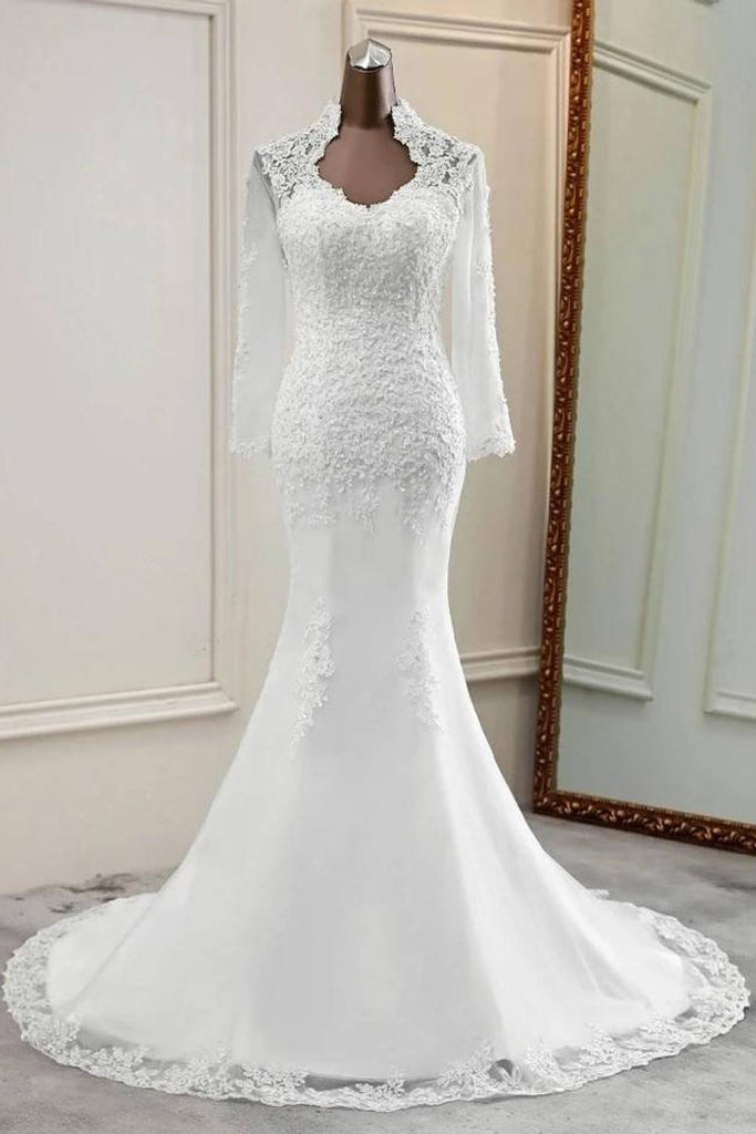 Elegant Appliques Long Sleeves Mermaid Bridal Gown Cheap Wedding Dress OKU65