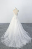 A Line Spaghetti Straps Lace Appliques Tulle Wedding Dress with V Neckline OKU69