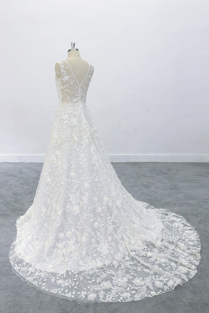 3D Flowers A-Line Round Neck Wedding Dress with V Back Lace Bridal Dresses OKU68