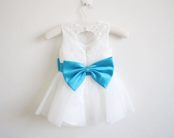 Light Ivory Blue Ribbon Lace Tulle Flower Girl Dress With Blue Sash/Bows OK209
