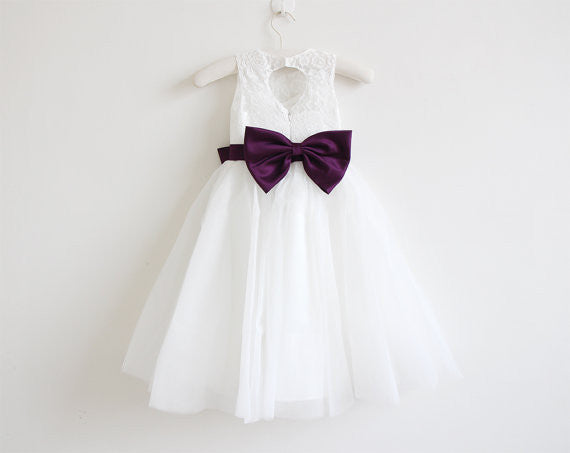 Light Ivory Lace Tulle Sleeveless Floor-length Flower Girl Dress With Eggplant Sash/Bows  OK213