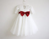 Long Sleeves Ivory Burgundy Sash Bows Lace Tulle Flower Girl Dress OK211