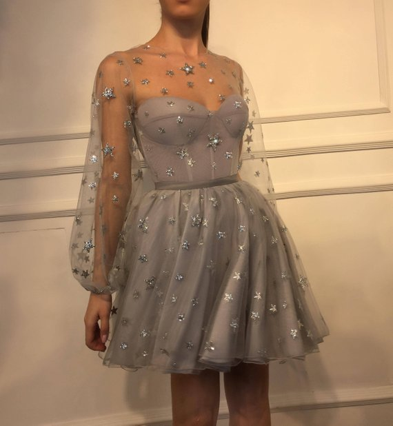 Sparkle Long Sleeve Short Unique Sheer Neck Stars Mini Homecoming Dress OKD50