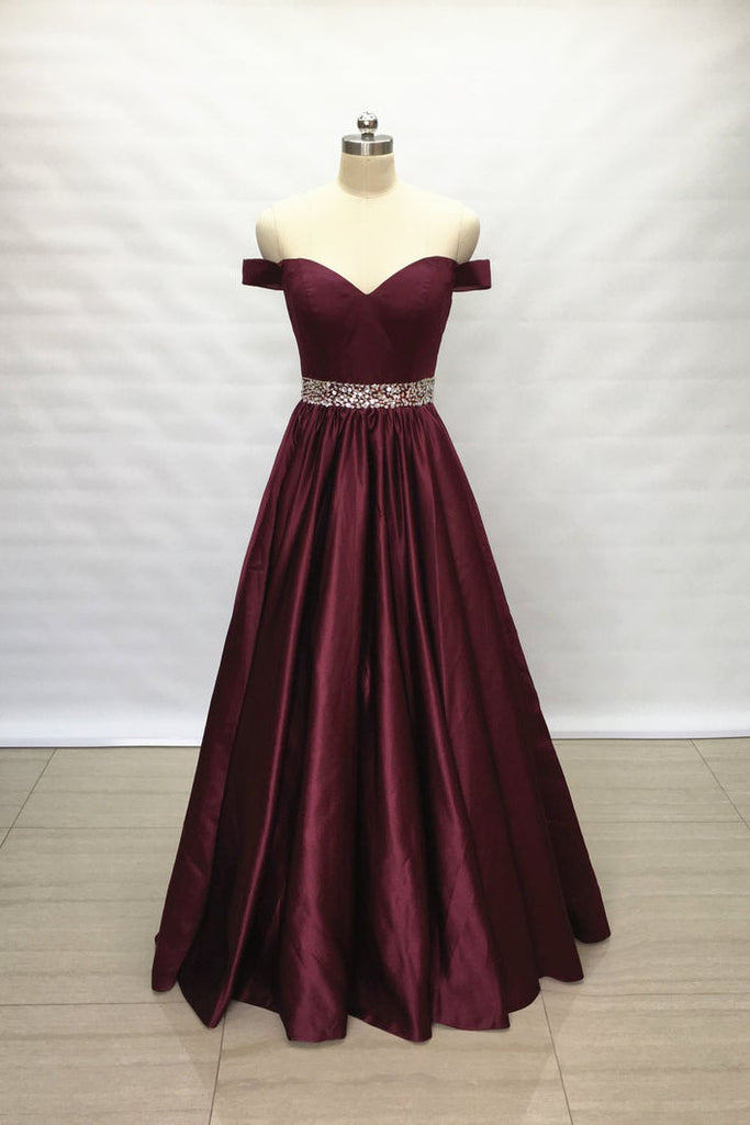 Burgundy Off Shoulder A Line Satin Long Beaded Belt Prom Dress OKV99