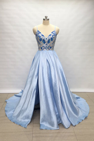 Spaghetti Straps Light Sky Blue Satin Long Prom Dress with Slit OKW4