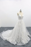 A Line Deep V Neck Fairy Tale Wedding Dress, Lace Tulle Bridal Dresses OKU96