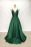 Spaghetti Straps Emerald Green A Line Long Simple Prom Dress OKW7