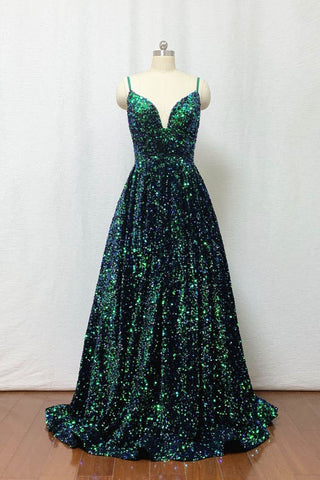 A Line Sequin Prom Dress Spaghetti Straps Forest Green Long Evening Dress OKW6