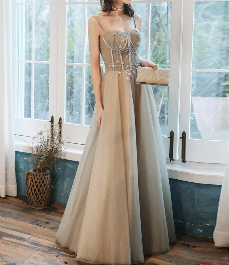 Spaghetti Straps A Line Long Prom Dress Fairy Tulle Evening Gown OKV86