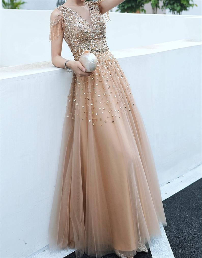 A-line Evening Dress,Beading Party Dress,Formal Evening Gown Women Girls OKW2