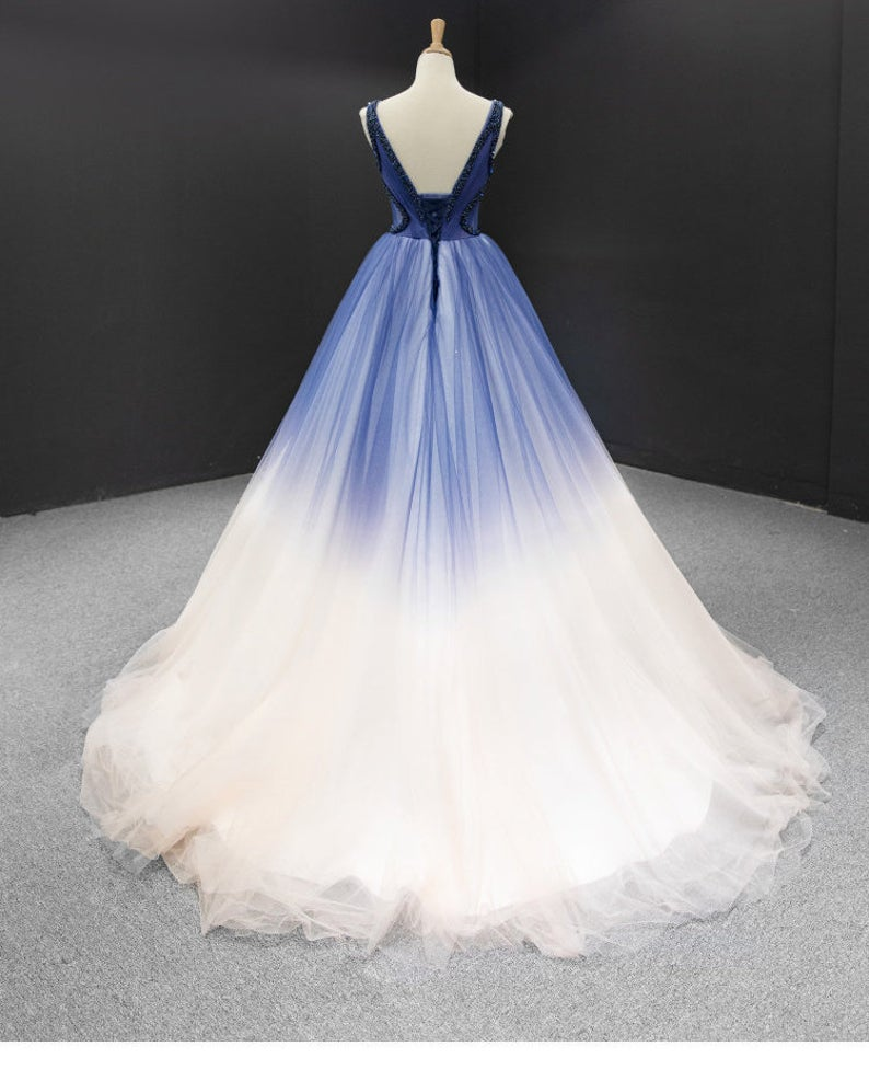 Ombre A Line Pleated Ruffles Beach Boho Prom Gown Beading Evening Dress OKU99