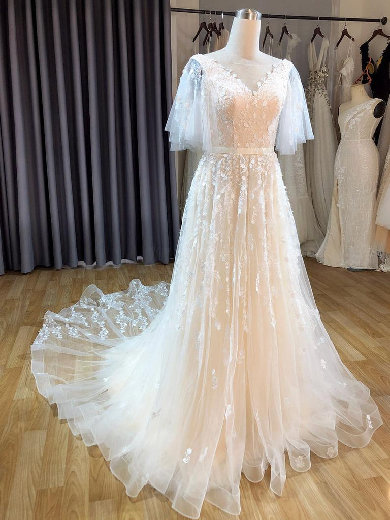Vintage Blush A Line Wedding Dress With Flutter Sleeve Lace Appliques OKU79