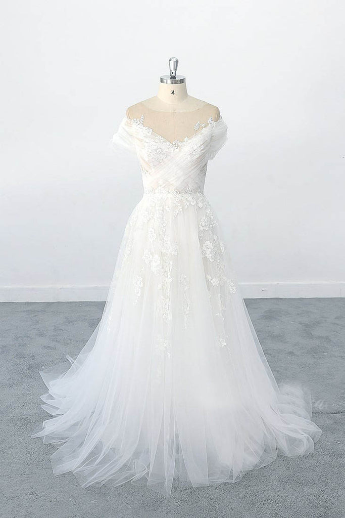 Exquisite off Shoulder Sleeves Lace Appliques Tulle Wedding Dress with Illusion Neckline OKU95