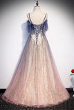 Gradient Purple Pink Prom Dress Lace Up Evening Dress A-line Senior Prom Dresses OKW1