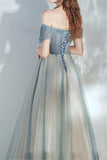 Off Shoulder Dusty Blue Prom Dress Lace Up,Tulle A-line Evening Dress,Senior Prom Dress OKV90