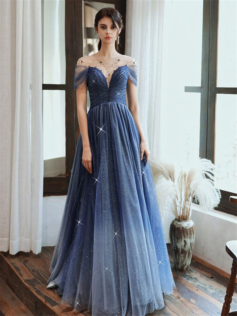 Starry Blue Off Shoulder Floral Event Dress Sparkling Long Prom Dress Aline Event Dress Gradient Long Dress OKV91