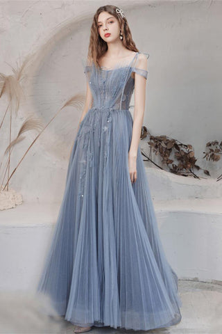 Blue A Line Tulle Prom Dress for Women Long Evening Dress Graduation Dress OKV89