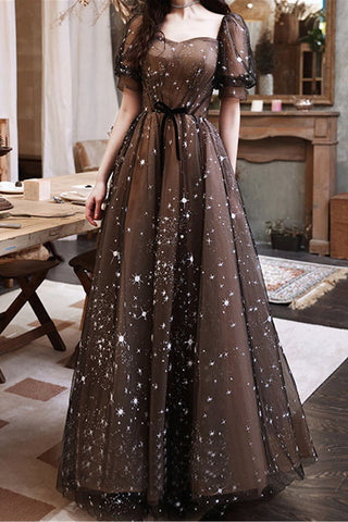 Black And Brown A Line Prom Dress. Short Sleeves Evening Dress Sequin Princess Dress OKW8